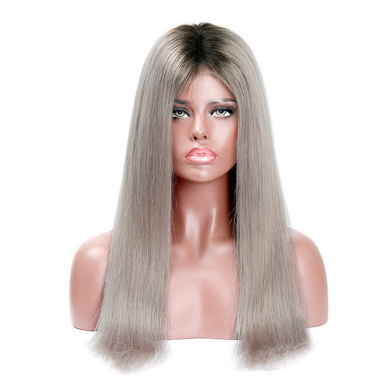 Stema 1b/Grey Ombre 4x4 Closure Wigs 200% Density Brazilian Straight Remy Human Hair Machine Made Lace Wigs