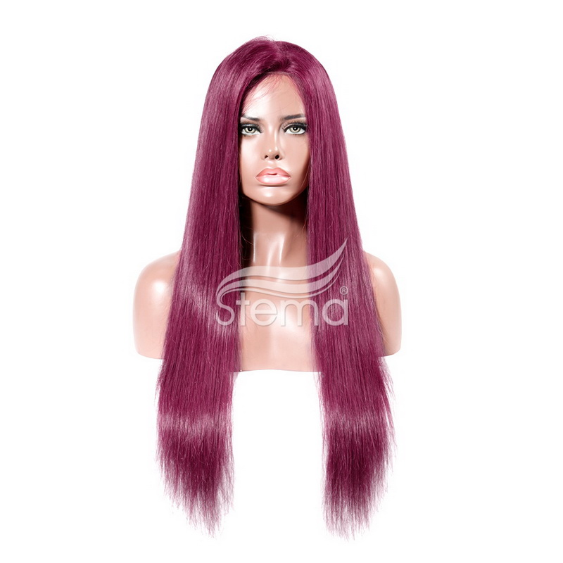Stema 99J Color Straight Virgin Human Hair Lace Front Wig with Baby Hair glueless Wigs