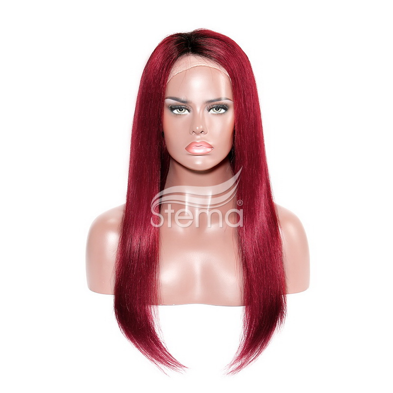 stema Lace Frontal Wigs Ombre Straight Black Root Red/Burgundy Remy Hair 150% Density
