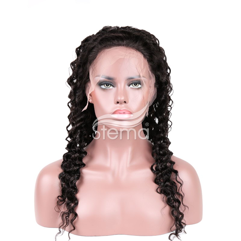 Stema Deep Wave Lace Front Wig Pre Plucked Lace Frontal Wig with Baby Hair Human Remy Hair Wigs