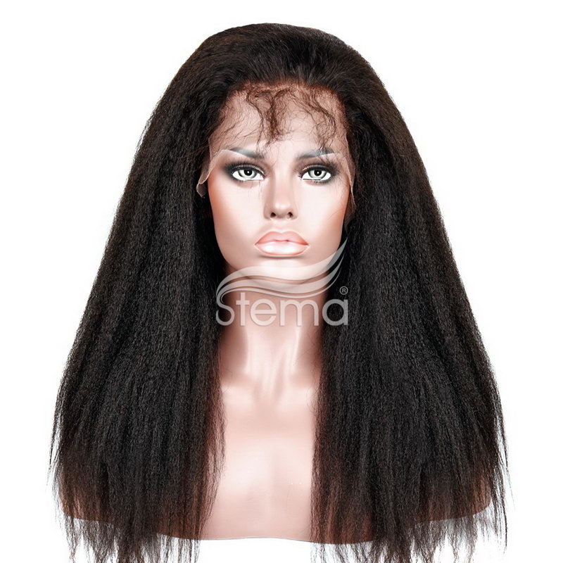 Stema Virgin Hair Kinky Straight Lace Front Wigs Pre Plucked 150% Density Brazilian Human Remy Hair Wigs for Black Women
