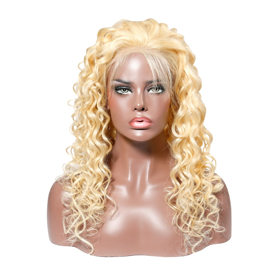 Stema Roman Curl 613 Blonde Lace Front Wig With Baby Hair 150% Density Human Remy Hair