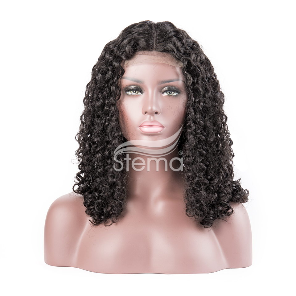Stema Machine lace closure wig Human Hair Wigs 250% Density Roman Curl (hair weave with closure)