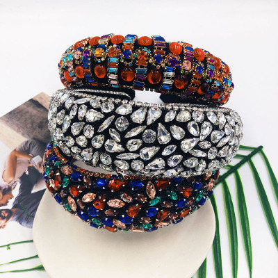 Colorful Crystals-Inlaid Sponge Rhinestone Headband European and American Baroque Headband Wide-Brimmed Rhinestone Headband
